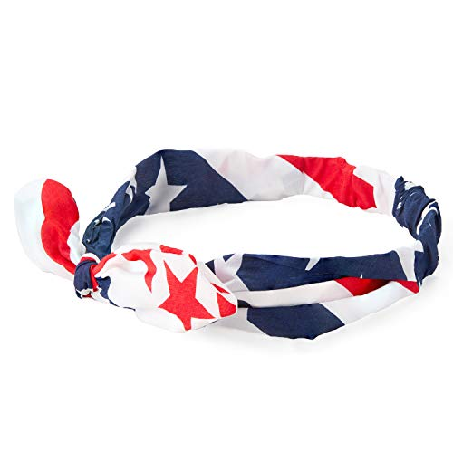 Juvale Set of 12 American USA Flag Bowknot Bandana Headbands for Fourth of July, Patriotic Hair...