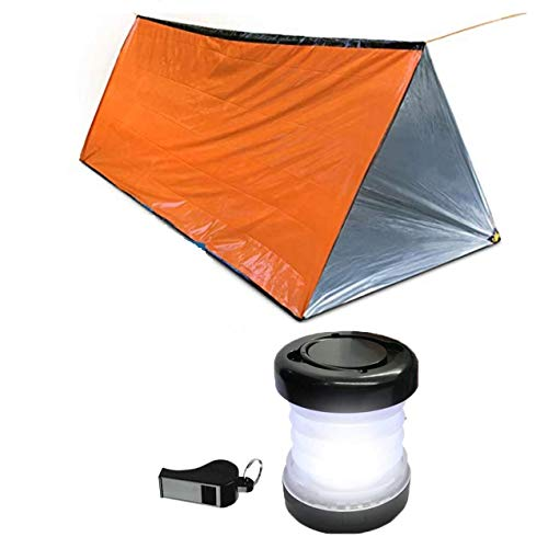 Survival Tent Emergency Shelter with Titan Paracord, for 2 Person,Survival Kit Mylar Tent Includes Survival Lamp and Tactical Whistle for Outdoors Camping and Hiking