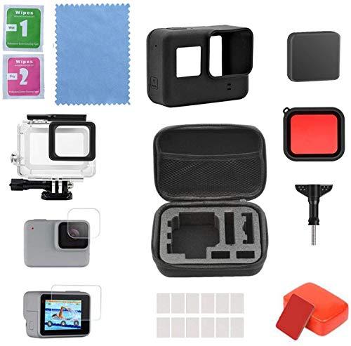 Linghuang - Kit de Accesorios para cámara GoPro Hero 7 Black GoPro Hero 6 Hero 5, con Funda Impermeable, Pantalla Protectora, Funda de Silicona y Espuma Flotante