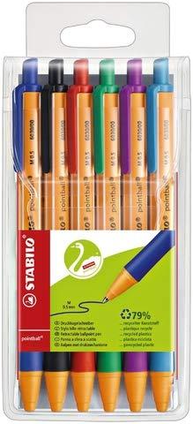 STABILO - Bolígrafo con punta retráctil y estuche de plástico (6 unidades)