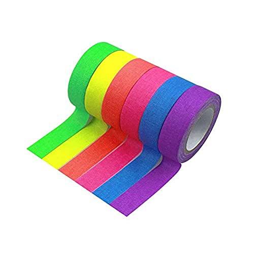 StyleBest Cintas de Tela Fluorescente de 6 Colores - Cinta Adhesiva de...
