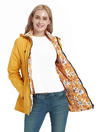 Bellivera Women's Casual Double Sided Coat Hooded,The Thin Printed Jacket Worn on Both Sides