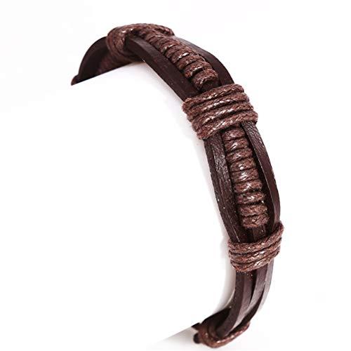 JIFNCR Pulsera de tejido de pareja retro rock punk pulsera hecha a mano ajustable accesorios para estudiante, marrón