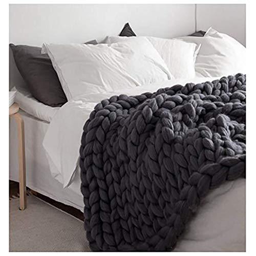 Ruber Main Chunky en Tricot De Laine Épaisse Couverture À Tricoter, Douce Et Chaude, pour Sofa, Natte De Couchage, Amoureux Cadeaux,Noir,80 * 80cm