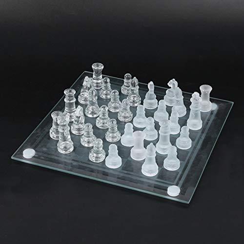 Dilwe Ajedrez de Cristal, 20x20cm 32 Piezas de ajedrez Cristal Esmerilado Ajedrez Internacional Niños Puzzle Juego de ajedrez