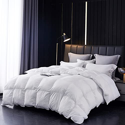 Johalaide Goose Down Feather Comforter King Size Duvet Insert, 1000TC Breathable 100% Egyptian Cotton Cover, 65oz Fill Weight 600+ Fill Power Lightweight Warmth Down Duvet (106x90Inches,White)
