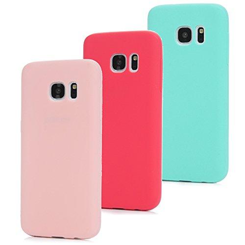 MAXFE.CO 3X Cover per Samsung Galaxy S7, Custodia Morbida Silicone TPU Flessibile Gomma Case Ultra Sottile Cassa Protettiva per Samsung Galaxy S7 - Rosso + Rosa + Menta Verde