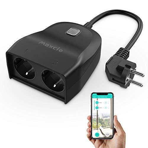 Enchufe Inteligente Exterior, Maxcio 2 en 1 Enchufe WiFi Compatible con Alexa y Google Home, APP Control Remoto, Función de Temporizador, Resistente a la Intemperie para Uso Interior y Exterior