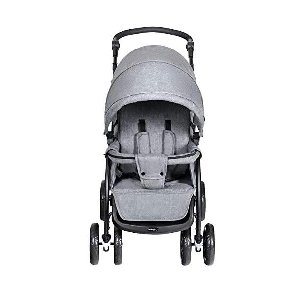 GYMAX Double Seat Stroller with Adjustable Push Handle and Foot Rest, Detachable Canopy, Foldable Baby Pushchair Buggy for Traveling, Going Shopping, Hanging Out GYMAX ✔DOUBLE SEAT DESIGN: The baby Stroller has front and back seats for two babies which can free your hand and no need for cuddling the baby, you can take care of two babies together. ✔MULTIPLE ADJUSTABLE POSITION: There are four adjustable parts: handlebar, canopy, footrest and backrest, the thoughtful design allow you to set a suitable position in different condition and make baby feel comfortable without crying. ✔360°SWIVEL WHEELS WITH BRAKES: The front wheels with anti-shock function can go any direction, the rear wheels have a connector that can be braked in one step. 8