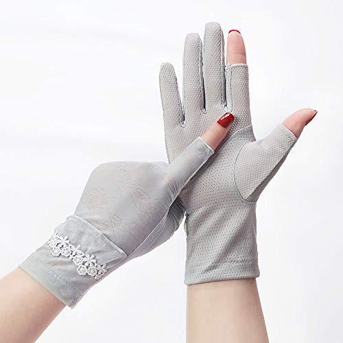Uoyov Thumb yemas del Dedo índice expuestas Guantes de protección Solar Mujer Delgada Medio Dedo de conducción a Caballo al Aire Libre Antideslizante de Seda del Hielo de Verano Anti-ultr