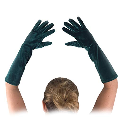 FANCY Wedding Teal Green Long Velvet Gloves Comfortable and Fashion for special person 15' length 8BL 1920s Party Social Events, and Like a movie Great Gatsby, and Charleston Costume.