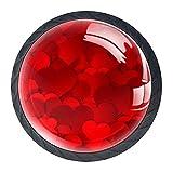 Red Love, Pomos para cajones de aparador, cristal de cristal, para el hogar, oficina, dormitorio, sala de estar, cuarto de baño con tornillos, paquete de 4