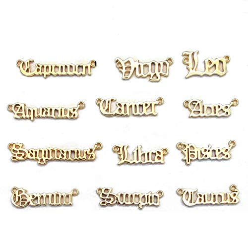 MONLEYTA, 12 Piezas, Signo del Zodiaco, 12 Constelaciones, Colgante, amuletos de la Suerte Mezclados, fabricación de Joyas, 2 de Oro