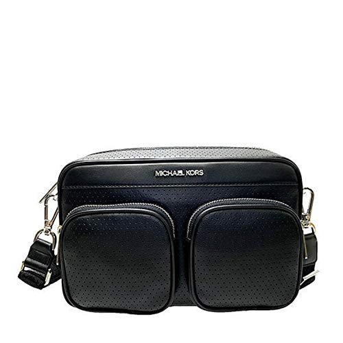 """Imported Silver Toned Hardware Michael Kors Logo at Front Zip Top Closure 2 Pockets with Zipper At Front Custom Fabric Lining 2 Multi-Functional Pockets 1 Zipped Pocket Measures 12.5"""" (L) X 7.5""""(H) X 3""""(D) Straps: 6"""", 23"""""""
