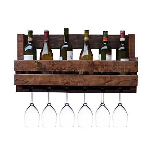 AKAMAS Moderno Estilo Retro Estante de Vino montado en la Pared Rack de Madera Maciza Sala de Estar en casa Rack Bar Wall Wine Rack Almacenamiento Rack Saving Sport Baibao