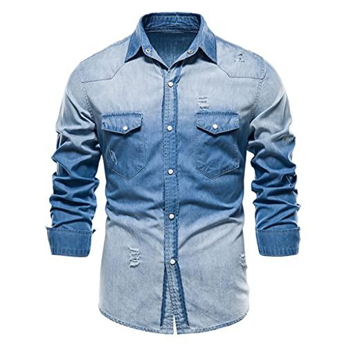 HDDFG Camisas de mezclilla Hombre Camisa de algodón 100% con bolsillo informal para hombre Camisa de...