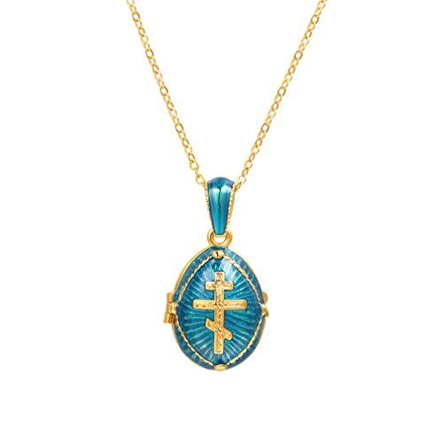 U7 Orthodox Cross Pendant & Chain 22' 18K Gold Plated Enamel Message Necklace