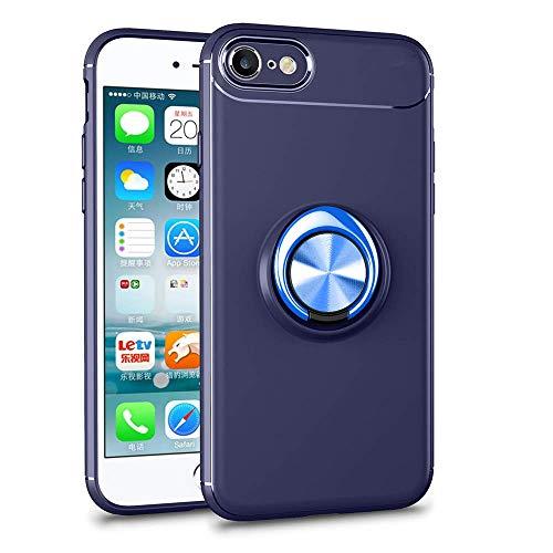 Funda flexible de silicona compatible con iPhone 8, rotación de 360 grados, anillo de metal, soporte magnético, soporte de coche, protección contra arañazos azul Talla única