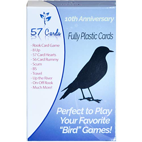 57 Cards Plastic Bird Cards 10th Anniversary Deck. Durable, Waterproof, & No Fraying.