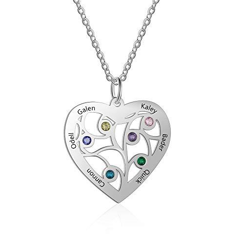 Grand Made Collar Personalizado en Forma de corazón de Plata 5 Nombres con árbol de la Vida Colgante con Regalo Grabado 5 Gemas estimuladas para la Abuela de la Mujer para la Familia