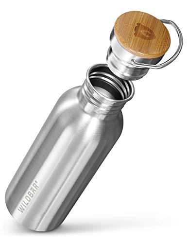 WILDBÄR® - Trinkflasche Edelstahl [500 ml] einwandig u. auslaufsicher mit Bambus Deckel - Edelstahl Trinkflasche für Sport, Wandern u. Büro - BPA freie Trinkflasche Edelstahl Kinder