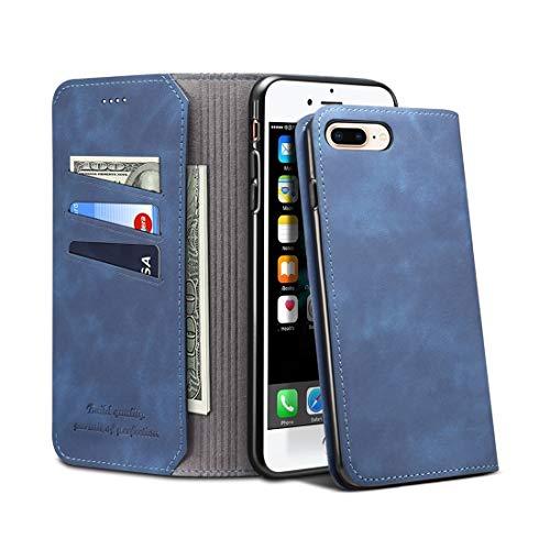 un known Reemplazar Nueva Piezas PU + TPU Funda de Cuero con Tapa Horizontal con Soporte y Ranuras for Tarjetas y Billetera for iPhone 7 Plus / 8 Plus Accesorio (Color : Blue)