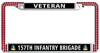 Toanovelty 157th Infantry Brigade Veteran Glitter Crystal License Plate Frame, Waterproof Red Bling Hippie Car License Plate Holder 6' x 12' in