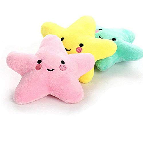 Pet Bite Squeaky Toys Smile Star Cute Stuffed Toys for Dogs Puppy Biting BB Sound Chew Squeaker Cloud Shape Plush Toy for Cats & Small Animals Exercise Entertainment,3 Pack (Star)