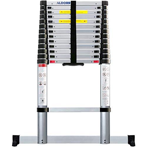 ALDORR 5,20M Échelle Télescopique en Aluminium | Escabeau Télescopique | Charge maximale 150 kg | Mécanisme de Rétraction Souple (Soft-Close) | Certifié EN131-6