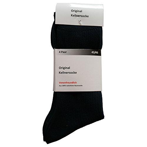 Gesundheitsstrumpf 8 Paar Kellnersocken Herren Schwarz dunkelblau 100% Baumwolle bis Grösse 54 lieferbar (43-46 Schwarz)