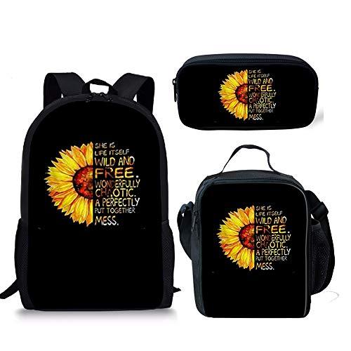 School Backpack Set Lunch Bags Pencil Case Trendy Sunflower Print Bookbags 3 Pcs Set for Kids Boys Girls