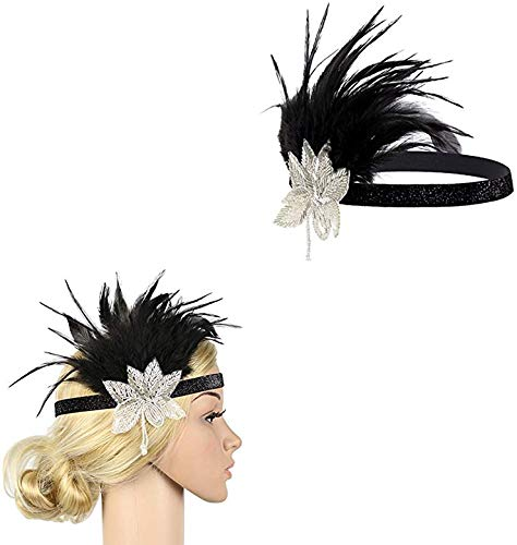 1920s Flapper Accessories Set for Women, Atuka Gatsby Costume Fancy Dress Accessories Feather Headband Black Gloves Pearl Necklace Vintage Earrings Cigarette Holder (Style #7)