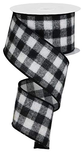 Flannel Check Plaid Wired Edge Ribbon 2.5""