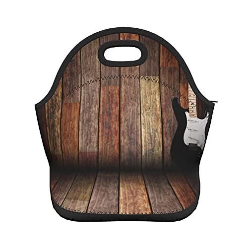 ADONINELP Bolsa de almuerzo con aislamiento para mujeres y hombres, guitarra en la habitación de madera, bolso de mano con aislamiento térmico resistente al agua, caja de almuerzo, enfriador de alime
