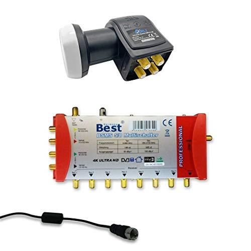 HD Multischalter 5 / 8 Sat + Quattro LNB UHD Multiswitch 5/8 Verteiler 1 Sat für 8 Teilnehmer Receiver TV extern Netzteil Digital HDTV FullHD 4K Satelliten Antenne Satellitenschüssel Switch Set