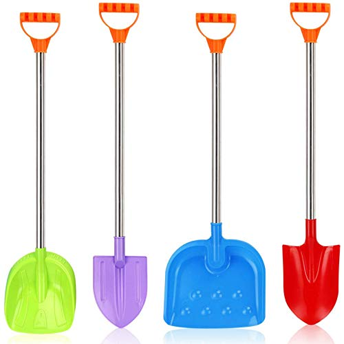 Liberty Imports 32-Inch Heavy Duty Stainless Steel Kids Beach Diggers Sand Scoop Shovels with Plastic Spade and Handle for Summer Outdoors Party Bundle - 4 Pack (Variety Pack)