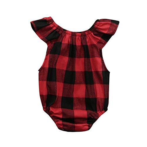 Longra Baby Strampler Kariert Strampler Sommer Ärmellos Bodys Baby Mädchen Jungen Sommerkleidung Babymode Babykleidung Overall Pyjamas (Red, 100CM 18Monate)
