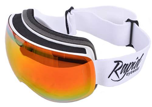 Rapid Eyewear Apex Gafas para ESQUÍ Y Snowboard para Hombres y Mujeres Blancos con Sistema de Lentes de Doble Capa antiempañamiento. Protección Anti reflejante UV400