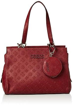 Guess - Janelle, Bolso de mano Mujer, Rojo (Merlot), 15,5x24x32,5 cm (W x H L)