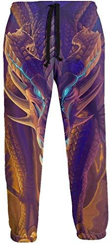 Painting Dragon Herren Jogginghose mit Taschen Kordelzug Elastische Taille Athletic Pants für Jogging Workout Gym Running Training XL