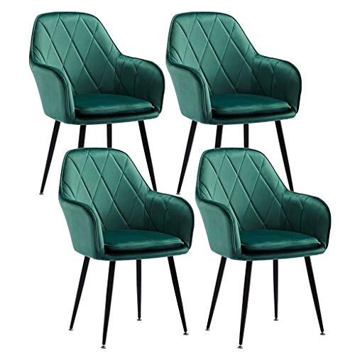 ZCXBHD Set von 4 Stück Dining Chair Velvet Gepolsterte Sitz for Counter Lounge Living Room Corner Akzent-Stuhl mit den Armen und Rückenstütze Metallbeine Empfang Stuhl (Color : Green)