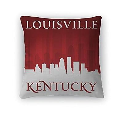 Gear New Throw Pillow Accent Decor, Louisville Kentucky City Skyline Silhouette Red, 5673025GN