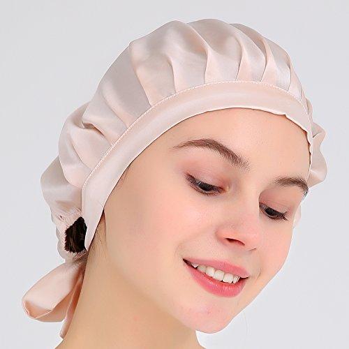 ナイトキャップ100%シルク絹16色美髪つや髪保湿抜毛枝毛切毛対策ギフト(12ピンク)