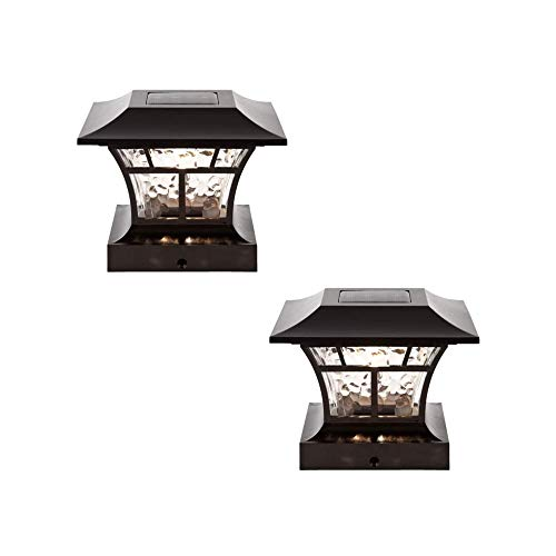 NOMA Solar Post Lights | Waterproof Outdoor Cap Lights for 4 x 4 Wooden or Vinyl Posts, Deck, Patio, Garden, Décor or Fence | Warm White LED Lights, 2-Pack