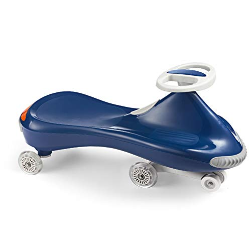 Hot Mom Ride on Toy Wiggle Car for Boys and Girls, Ride on car with Anticollision Belt,Reflective Stripe and LED Light,Twist car for Kids, 2 Years Old and Up(Blue)
