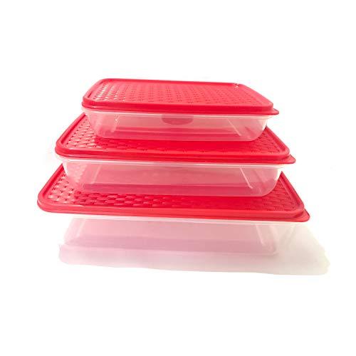 G&D - Recipientes de plástico para alimentos con tapas de almacenamiento para cocina, cajas de almacenamiento de alimentos, reutilizables, sin BPA, apilables