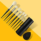 CJP Beauty Face Makeup Brushes 9 Pcs- Certified Vegan-friendly And Cruelty-free - Soft Synthetic Hairs With Wooden Handle - Best For Liquid, Powder, Cream And Gel Formulas