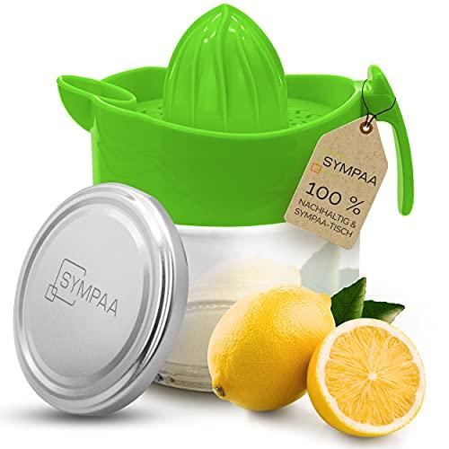 SYMPAA Exprimidor de limón con recipiente cristal 220 ml y tapón rosca, fácil limpiar para un almacenamiento sostenible, perfecto limones, limas naranjas pequeñas, combinar otros vasos rosca