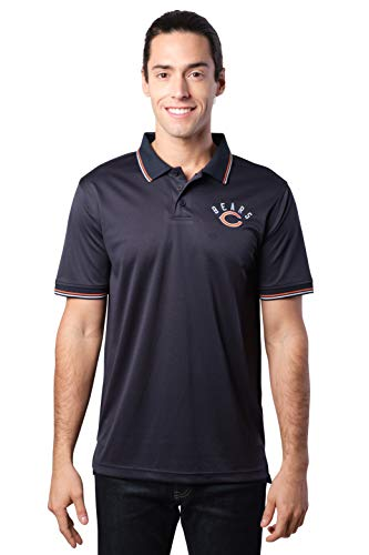 Ultra Game NFL Chicago Bears Mens Moisture Wicking Tech Polo Shirt, Team Color, Large