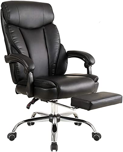 HZYDD Boss Chair, Business Backrest Computer Chair, Home Comfortable Office Sitting Leather Deck Chair (Color : Polyurethane)